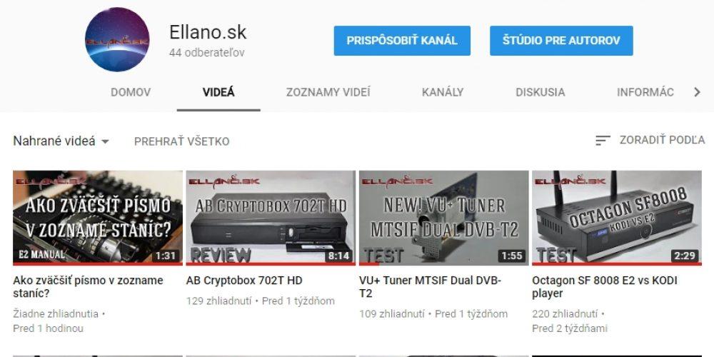 Youtube kanál Ellano.sk